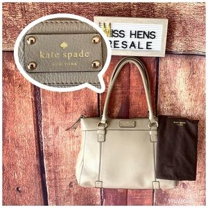 KATE SPADE CEMENT GRY SHOULDER HAND BAG TOTE PURSE